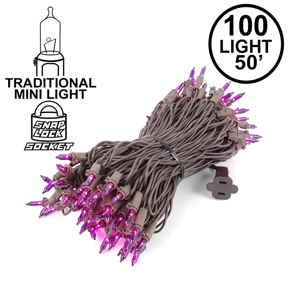 Picture of Purple Christmas Mini Lights 100 Light 50 Feet Long on Brown Wire