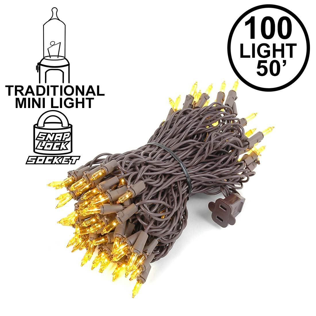 Picture of Yellow Christmas Mini Lights 100 Light 50 Feet Long on Brown Wire