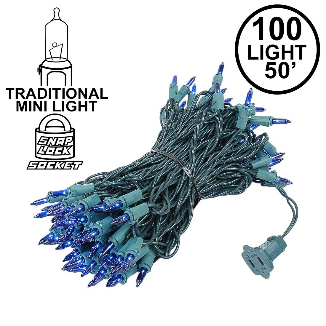 Picture of Blue Christmas Mini Lights 100 Light 50 Feet Long on Green Wire