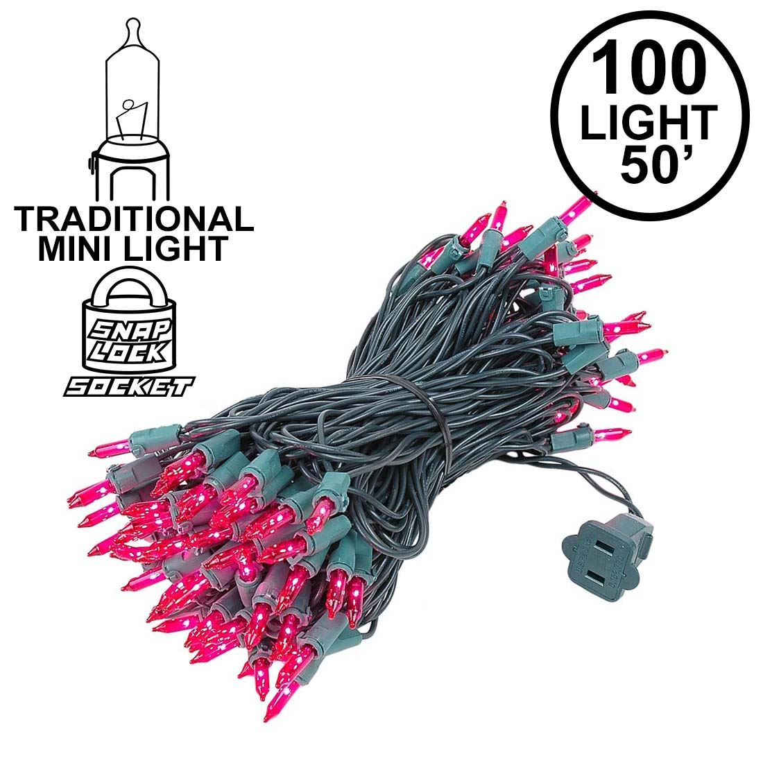 Picture of Pink Christmas Mini Lights 100 Light 50 Feet Long on Green Wire