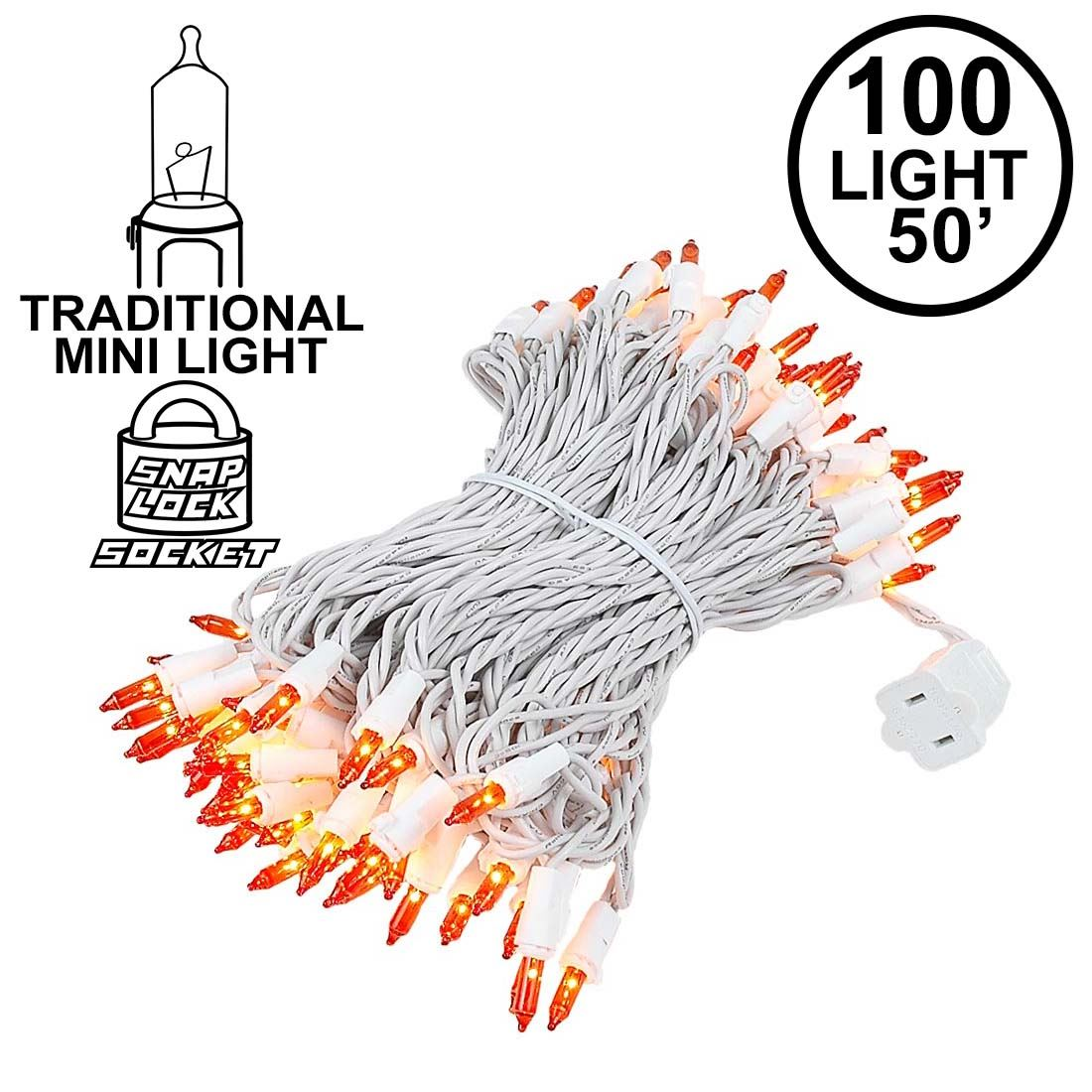 Picture of Amber/Orange Christmas Mini Lights 100 Light 50 Feet Long on White Wire