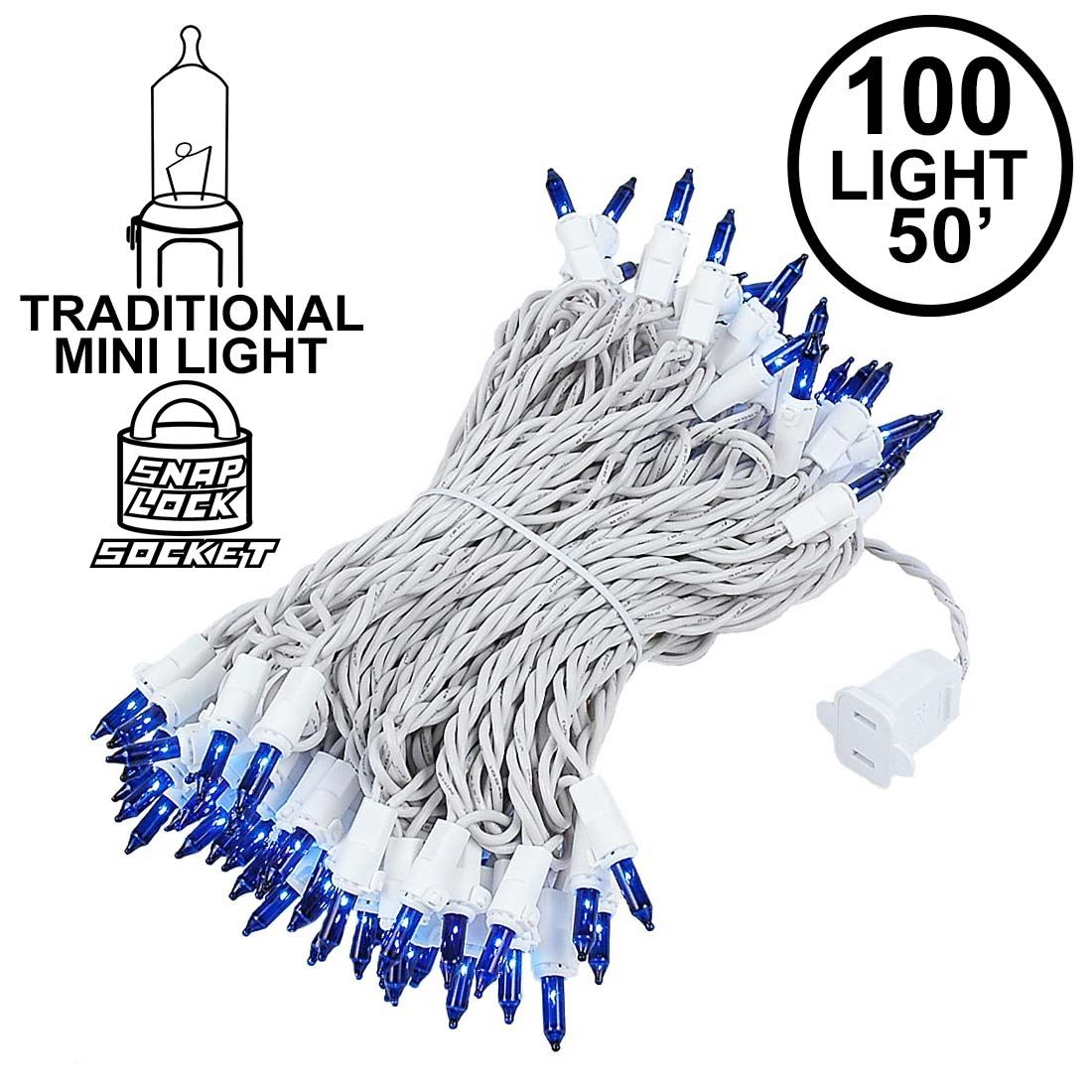 Picture of Blue Christmas Mini Lights 100 Light 50 Feet Long on White Wire