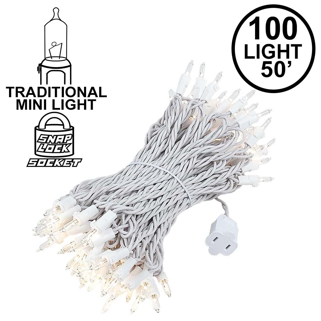 Picture of Clear Christmas Mini Lights 100 Light 50 Feet Long on White Wire