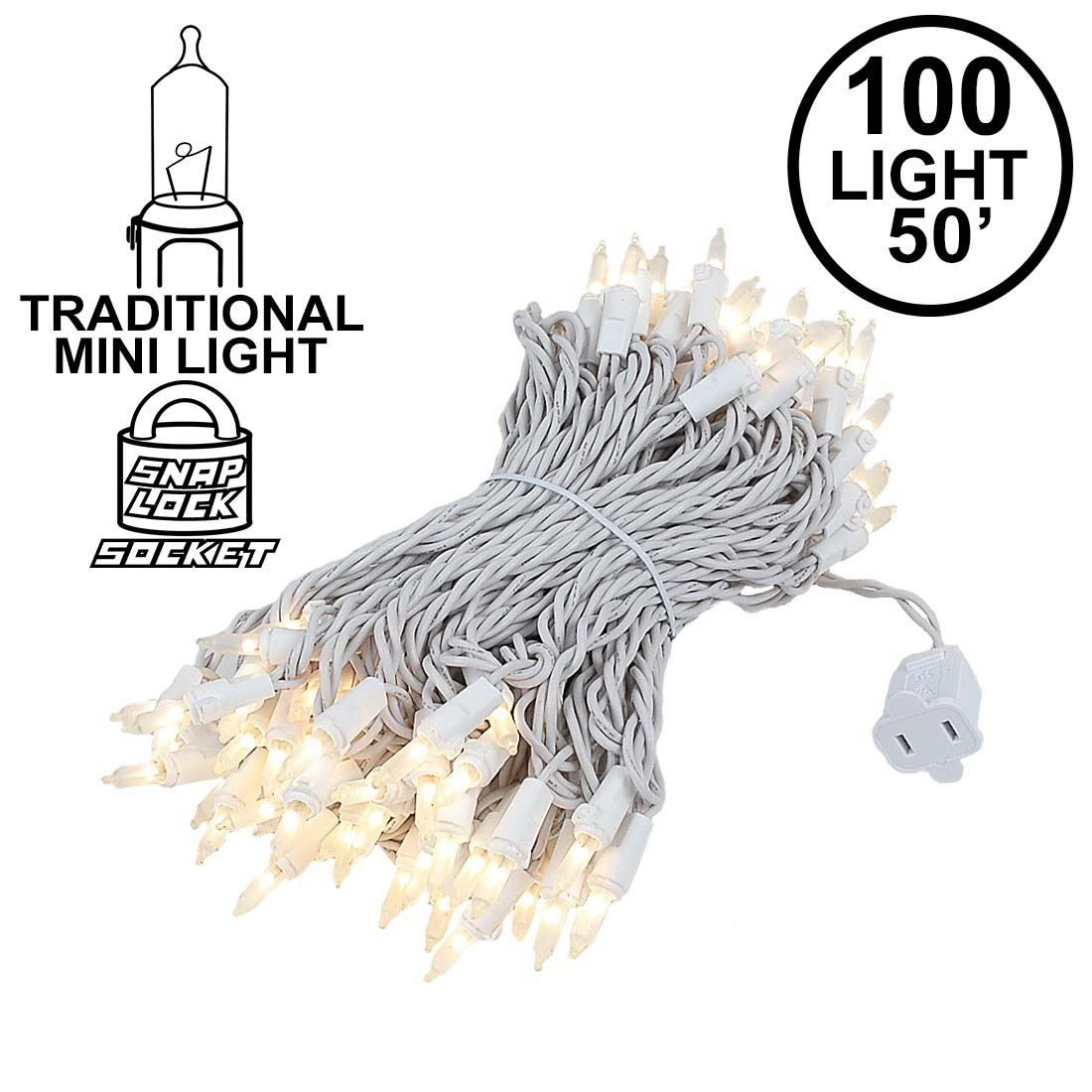 Picture of Frosted Christmas Mini Lights 100 Light 50 Feet Long on White Wire