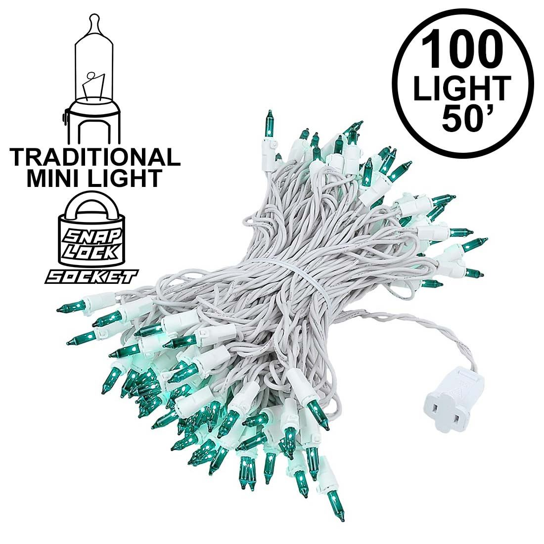 Picture of Green Christmas Mini Lights 100 Light 50 Feet Long on White Wire
