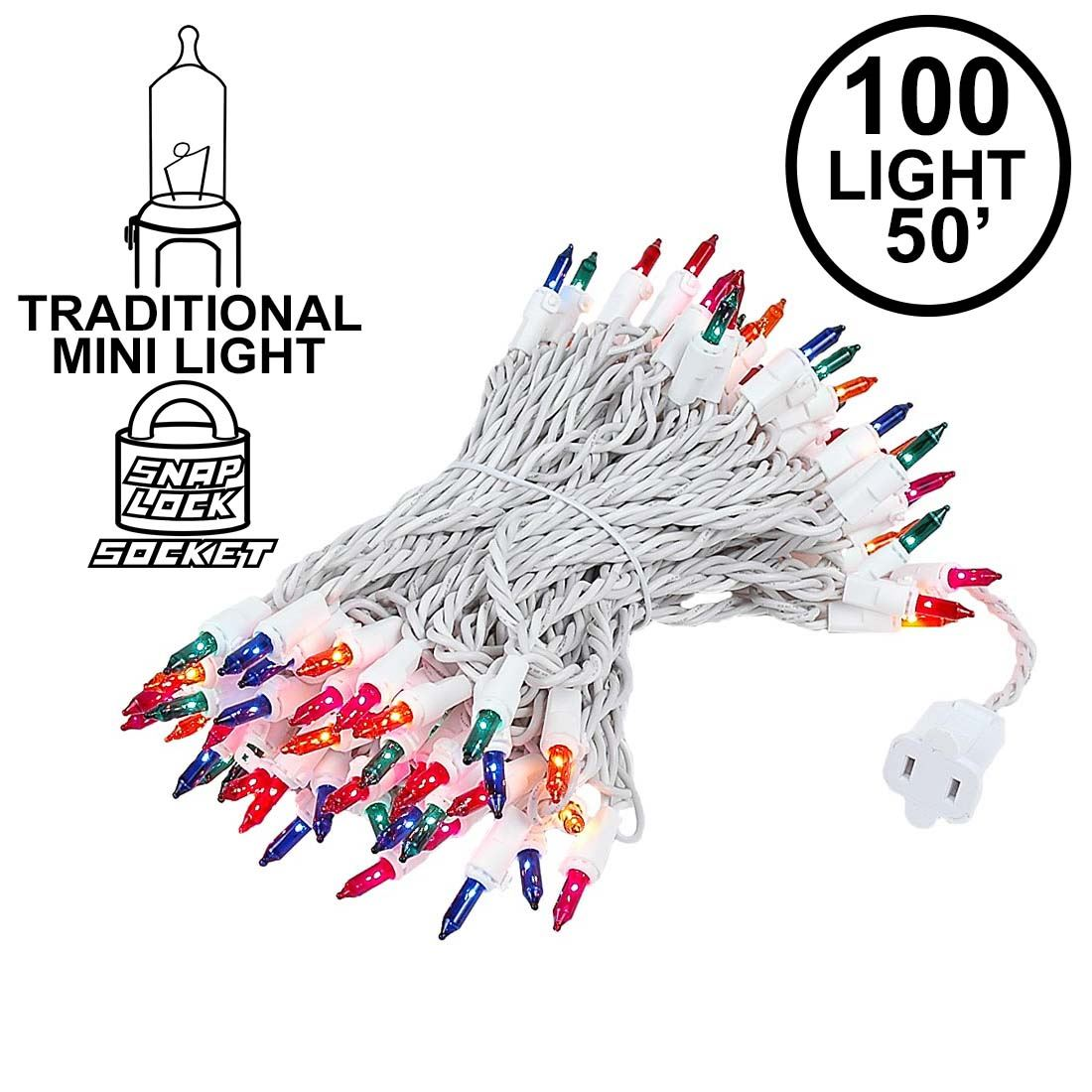 Picture of Multi Christmas Mini Lights 100 Light 50 Feet Long on White Wire