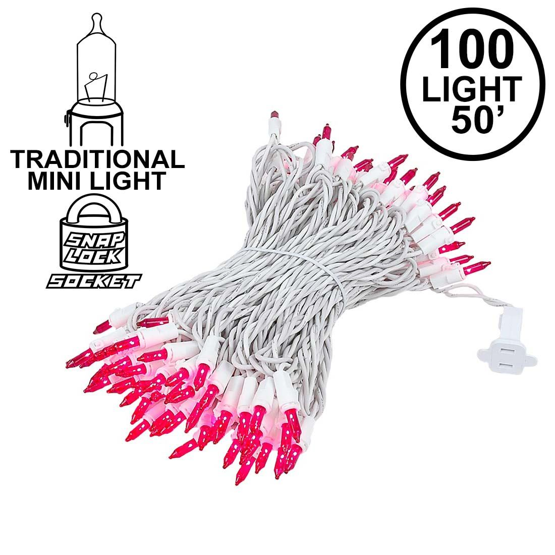 Picture of Pink Christmas Mini Lights 100 Light 50 Feet Long on White Wire