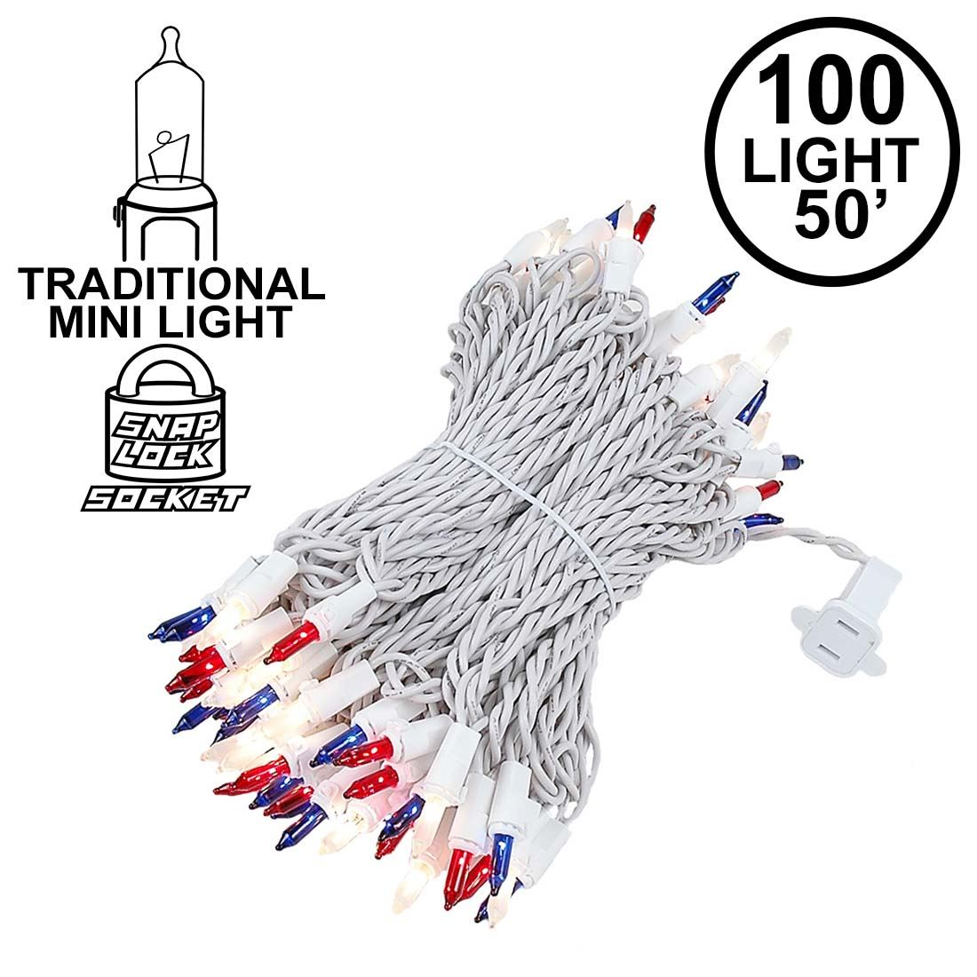 Picture of Red/White/Blue Christmas Mini Lights 100 Light 50 Feet Long on White Wire