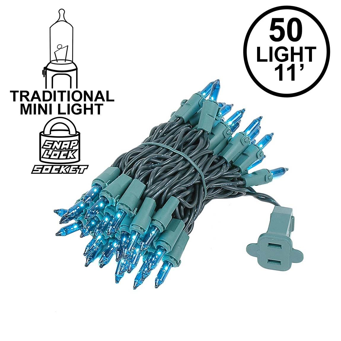 Picture of Teal 50 Light 11' Long Green Wire Christmas Mini Lights
