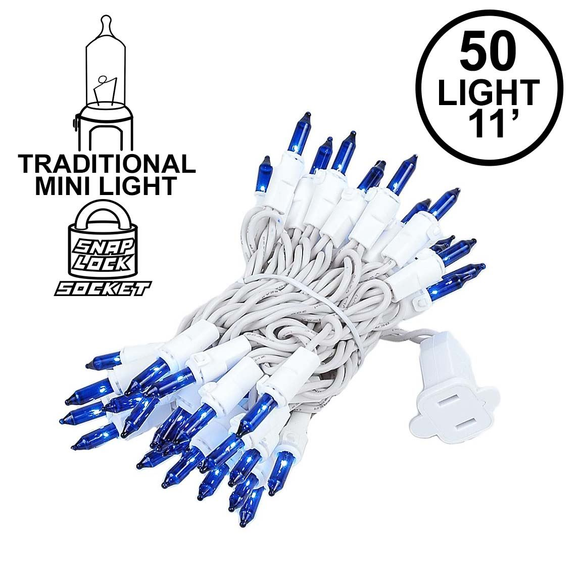 Picture of Blue 50 Light 11' Long White Wire Christmas Mini Lights