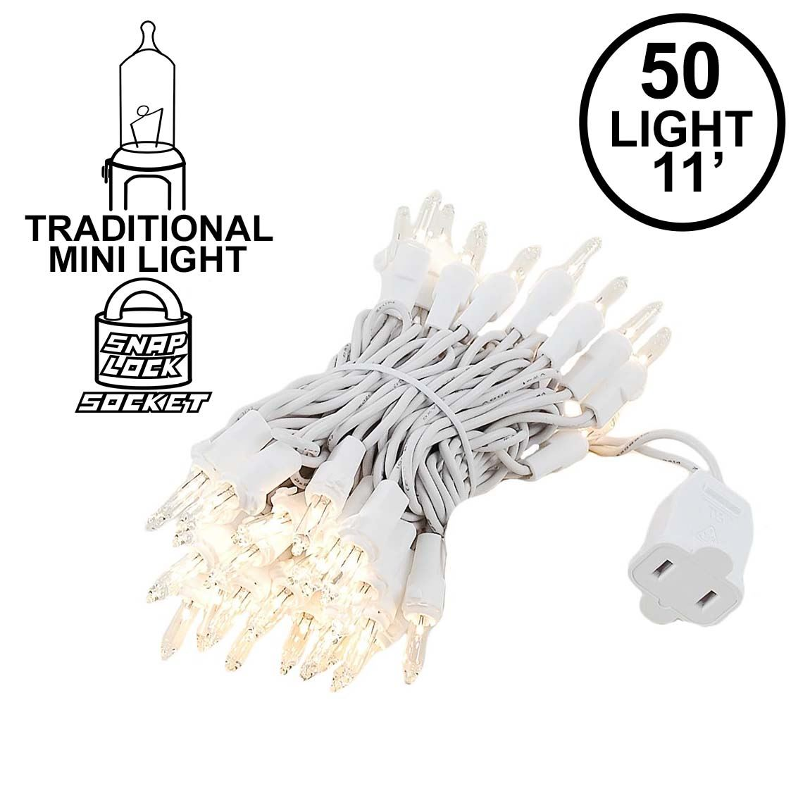 Picture of Clear 50 Light 11' Long White Wire Christmas Mini Lights