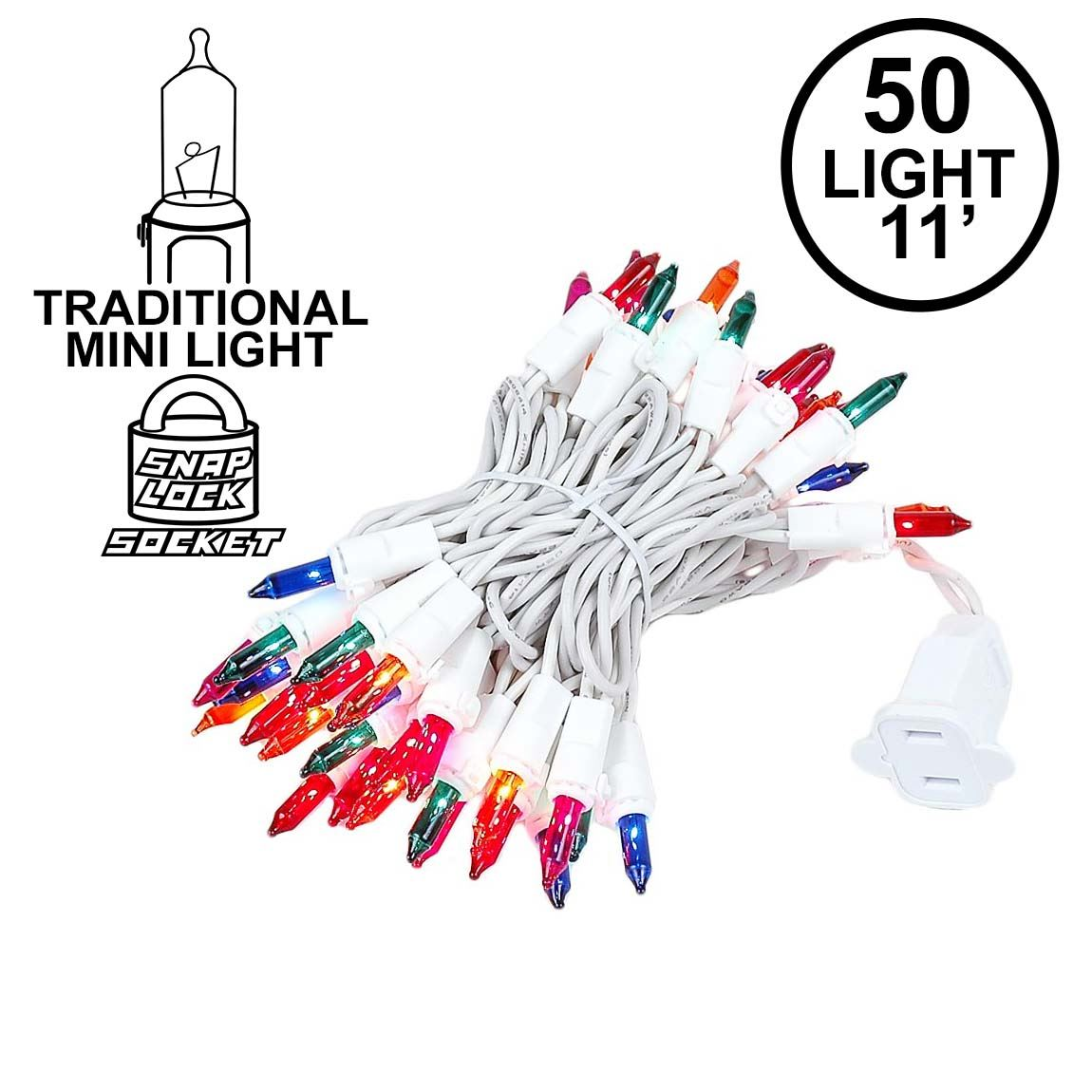 Picture of Multi 50 Light 11' Long White Wire Christmas Mini Lights