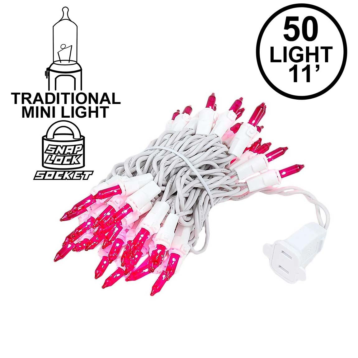 Picture of Pink 50 Light 11' Long White Wire Christmas Mini Lights