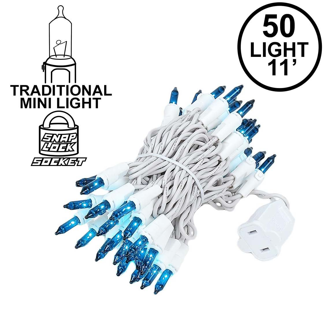Picture of Teal 50 Light 11' Long White Wire Christmas Mini Lights