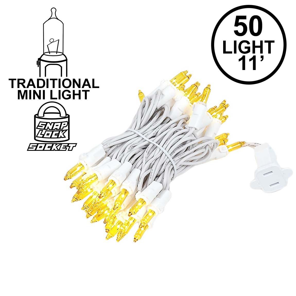 Picture of Yellow 50 Light 11' Long White Wire Christmas Mini Lights