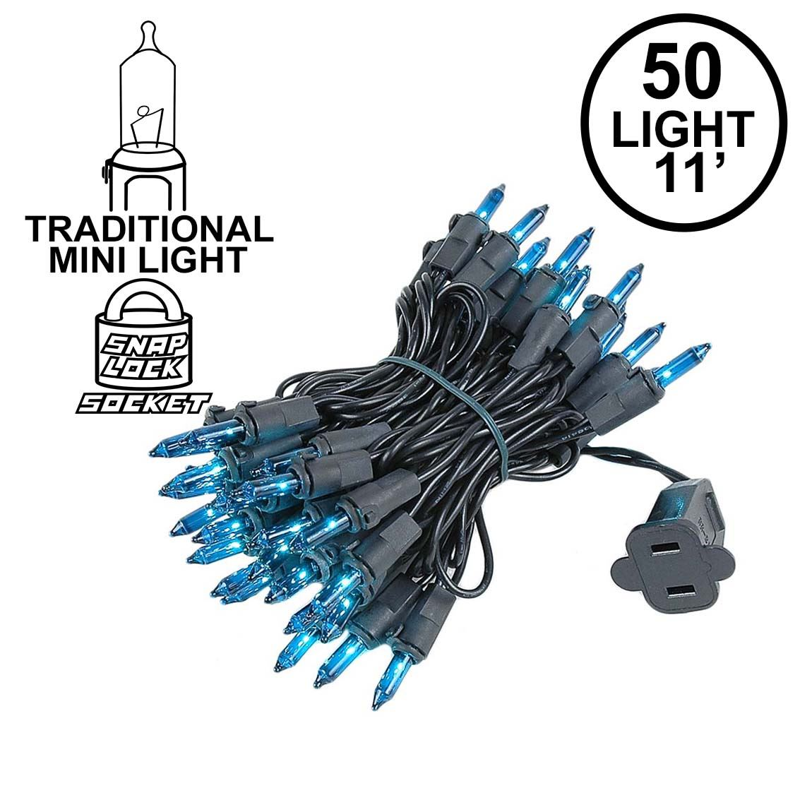 Picture of Teal Christmas Mini Lights 50 Light on Black Wire 11 Feet Long