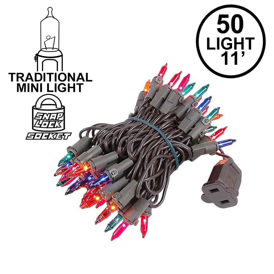 Picture of Multi Colored Christmas Mini Lights 50 Light on Brown Wire 11 Feet Long