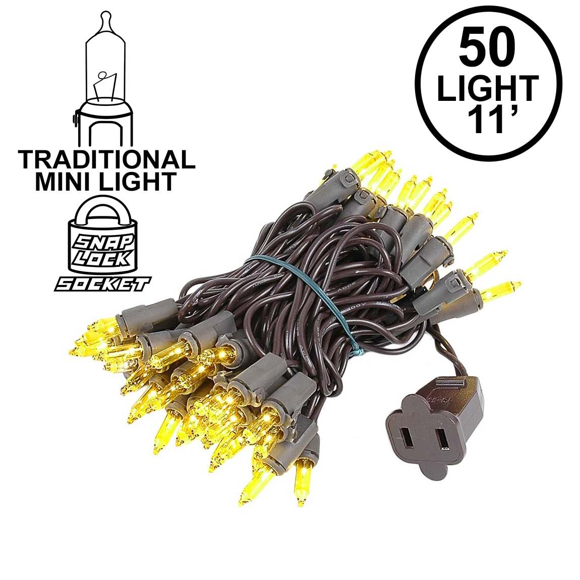 Picture of Yellow Christmas Mini Lights 50 Light on Brown Wire 11 Feet Long