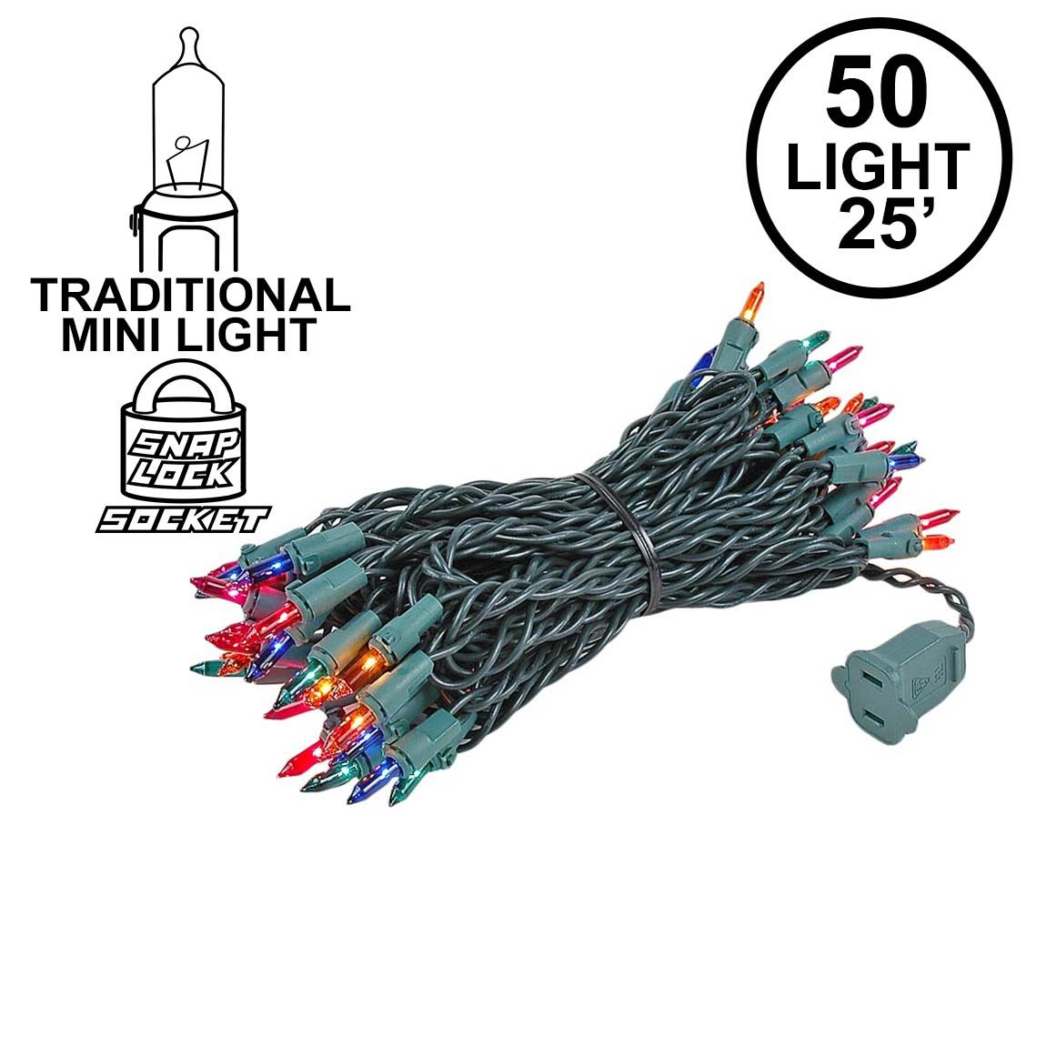 Picture of Multi 50 Light 25' Long Green Wire Christmas Mini Lights