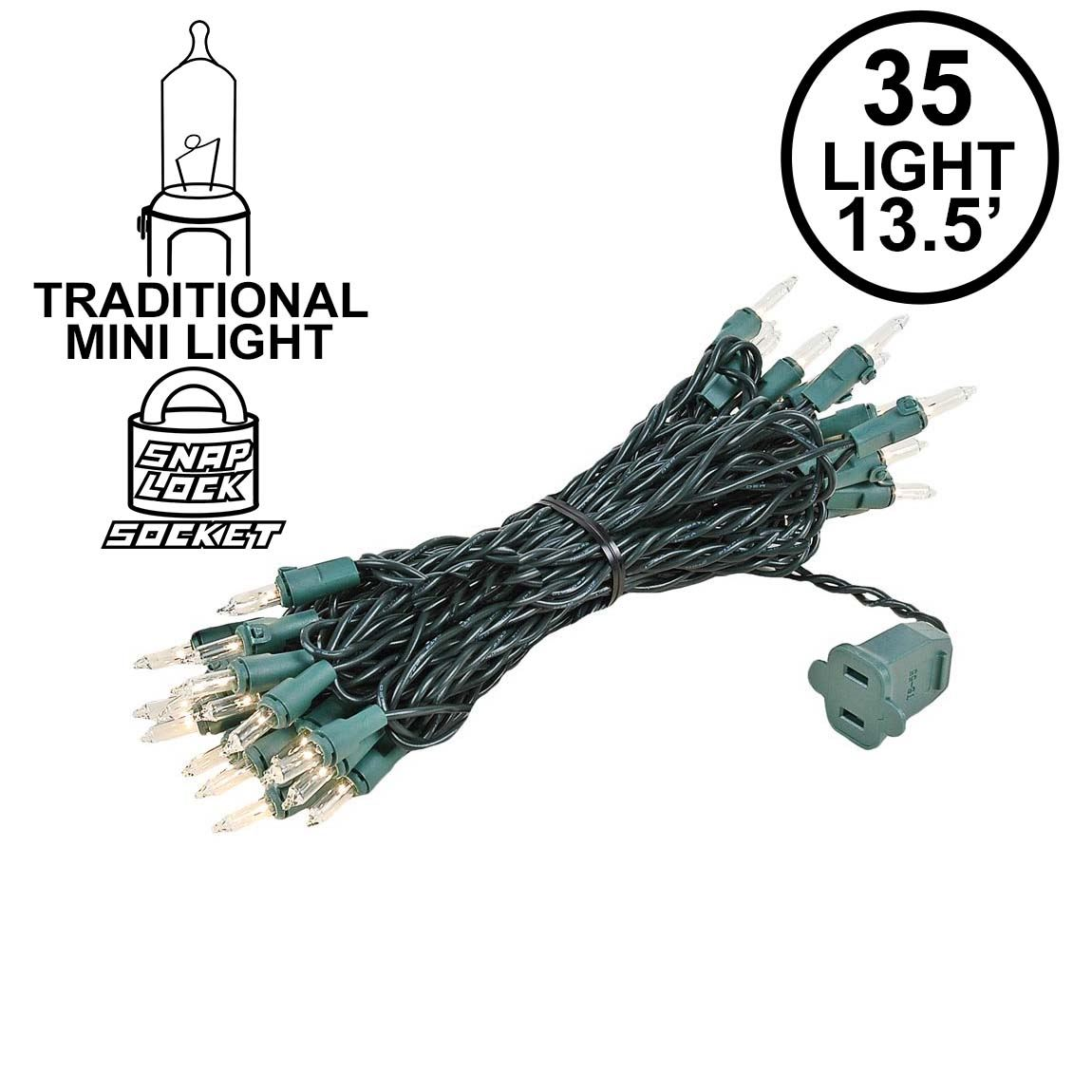 Picture of 35 Light 17' Long Green Wire Christmas Mini Lights