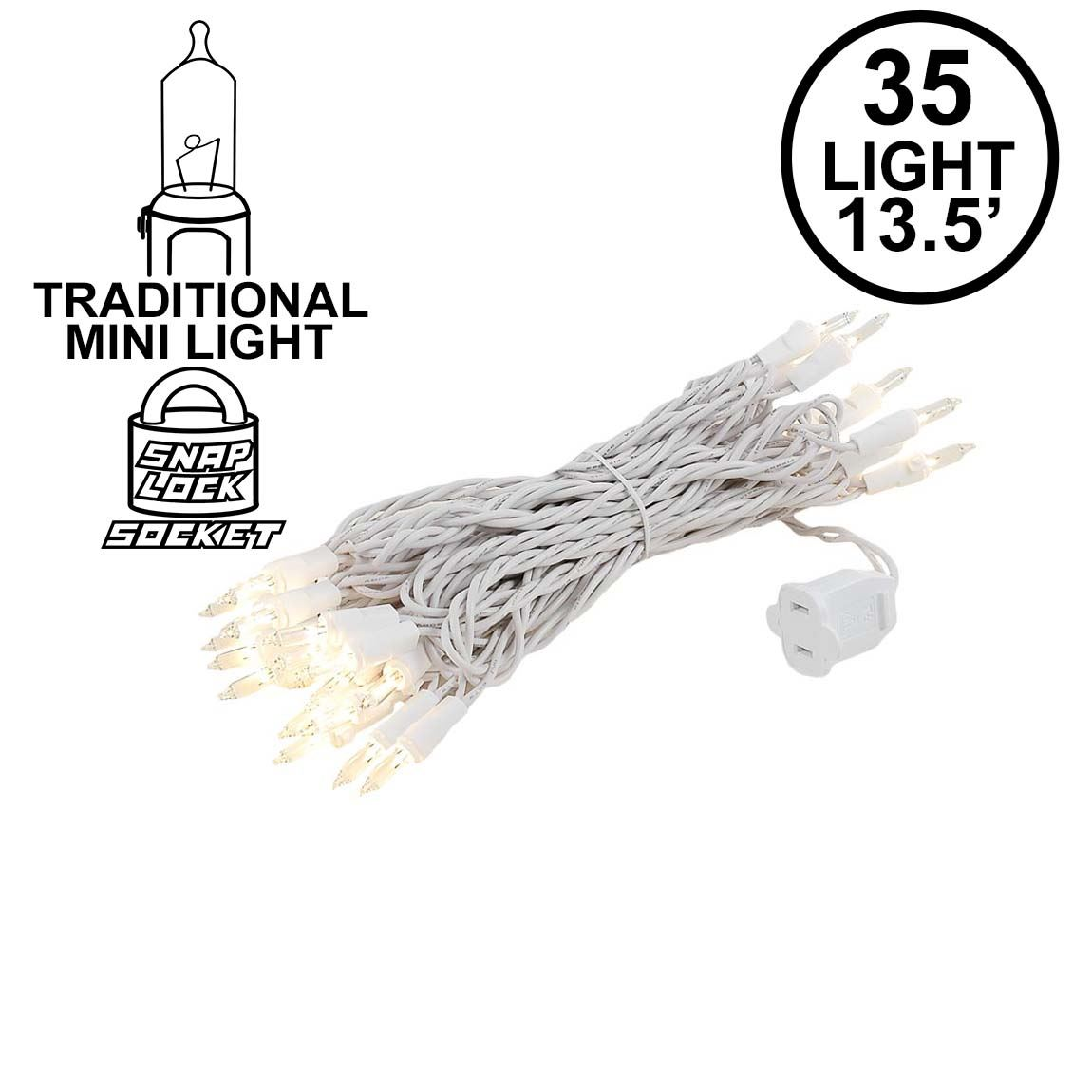 Picture of 35 Light 17' Long White Wire Christmas Mini Lights
