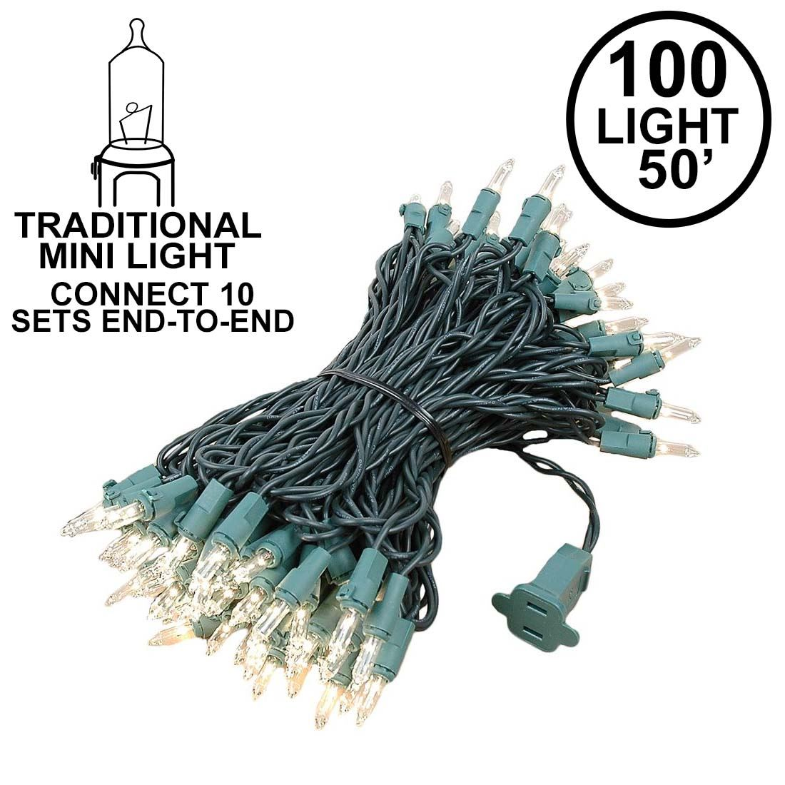 Picture of Connect 10 Clear Christmas Mini Lights 100 Light 50 Feet Long