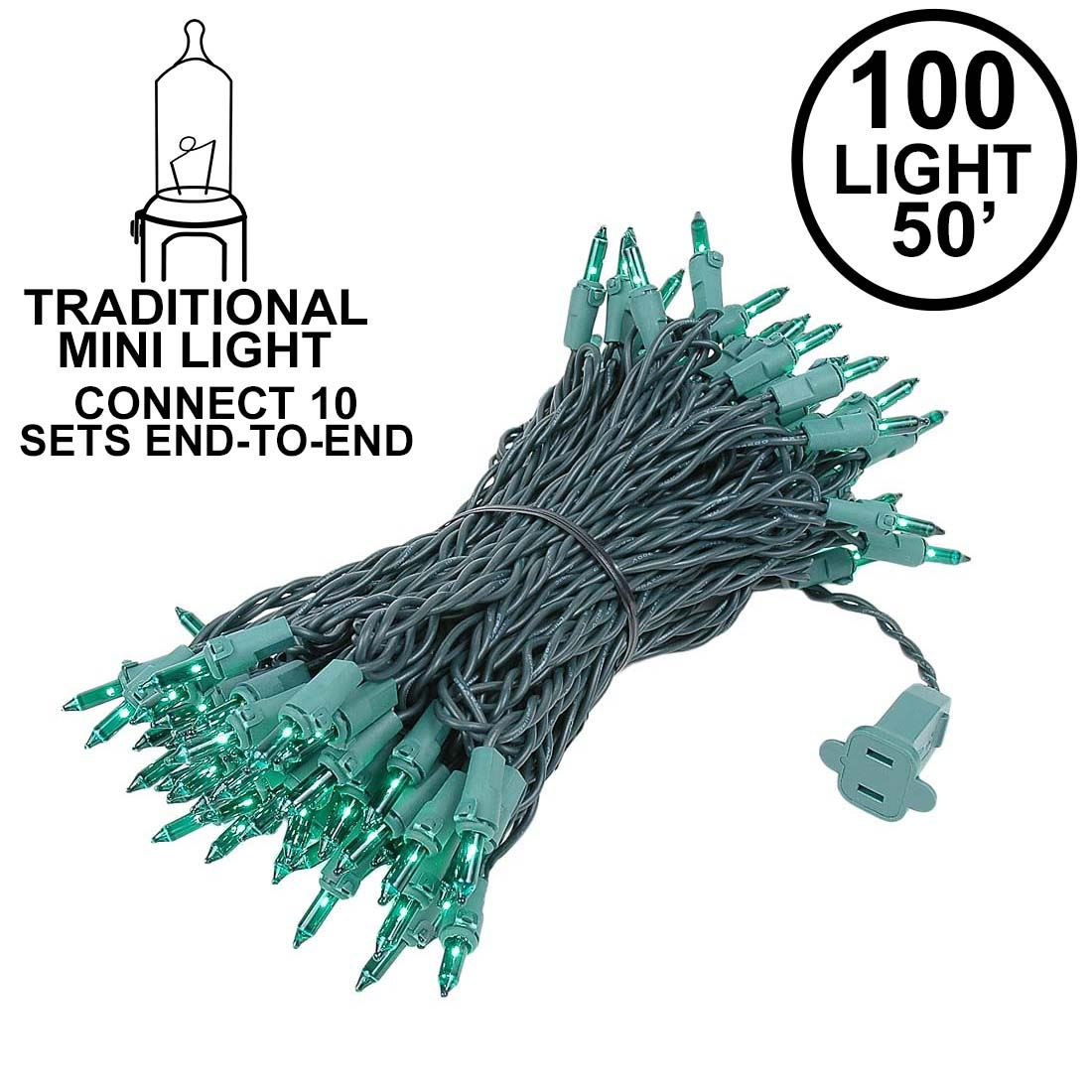 Picture of Connect 10 Green Christmas Mini Lights 100 Light 50 Feet Long**ON SALE**