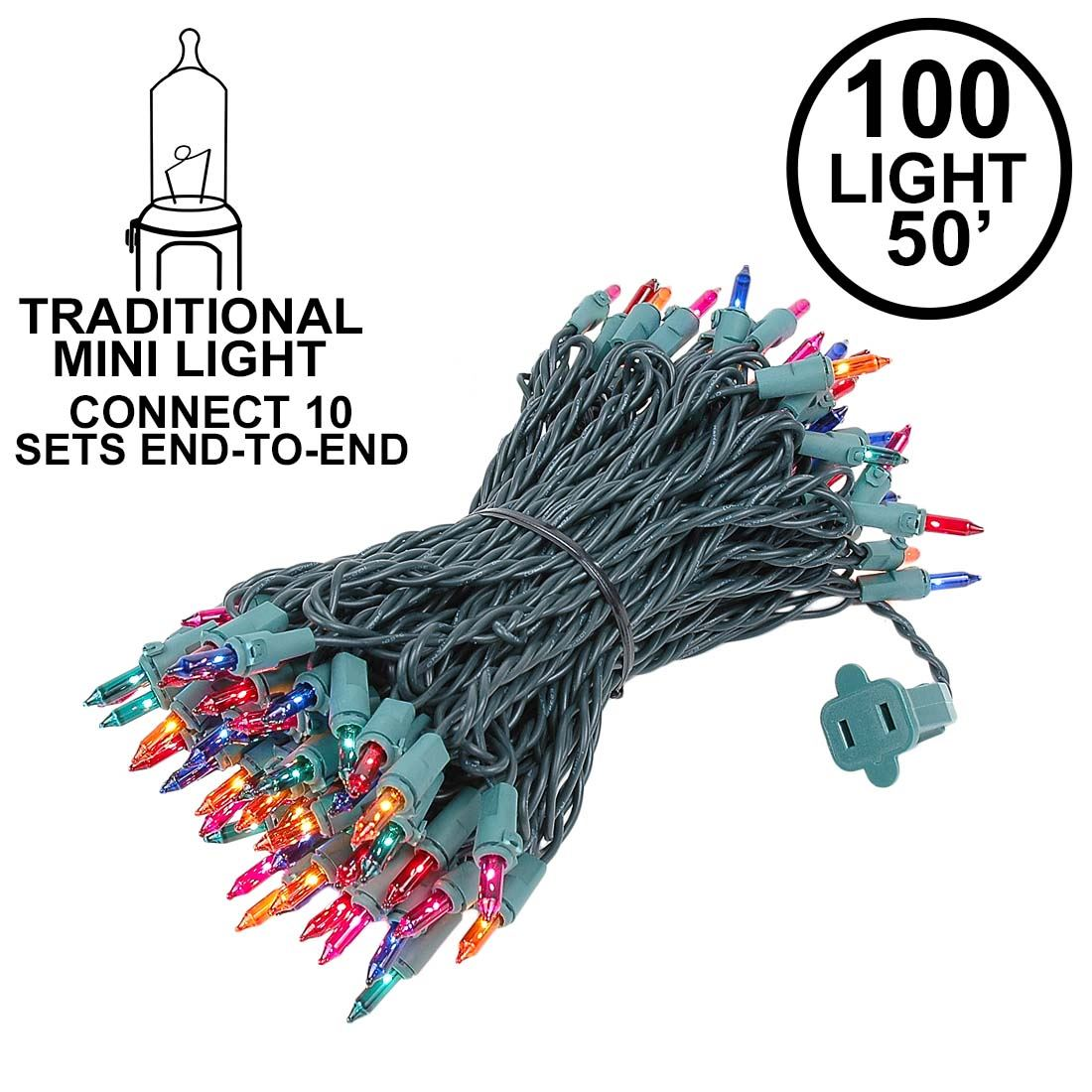 Picture of Connect 10 Multi Christmas Mini Lights 100 Light 50 Feet Long