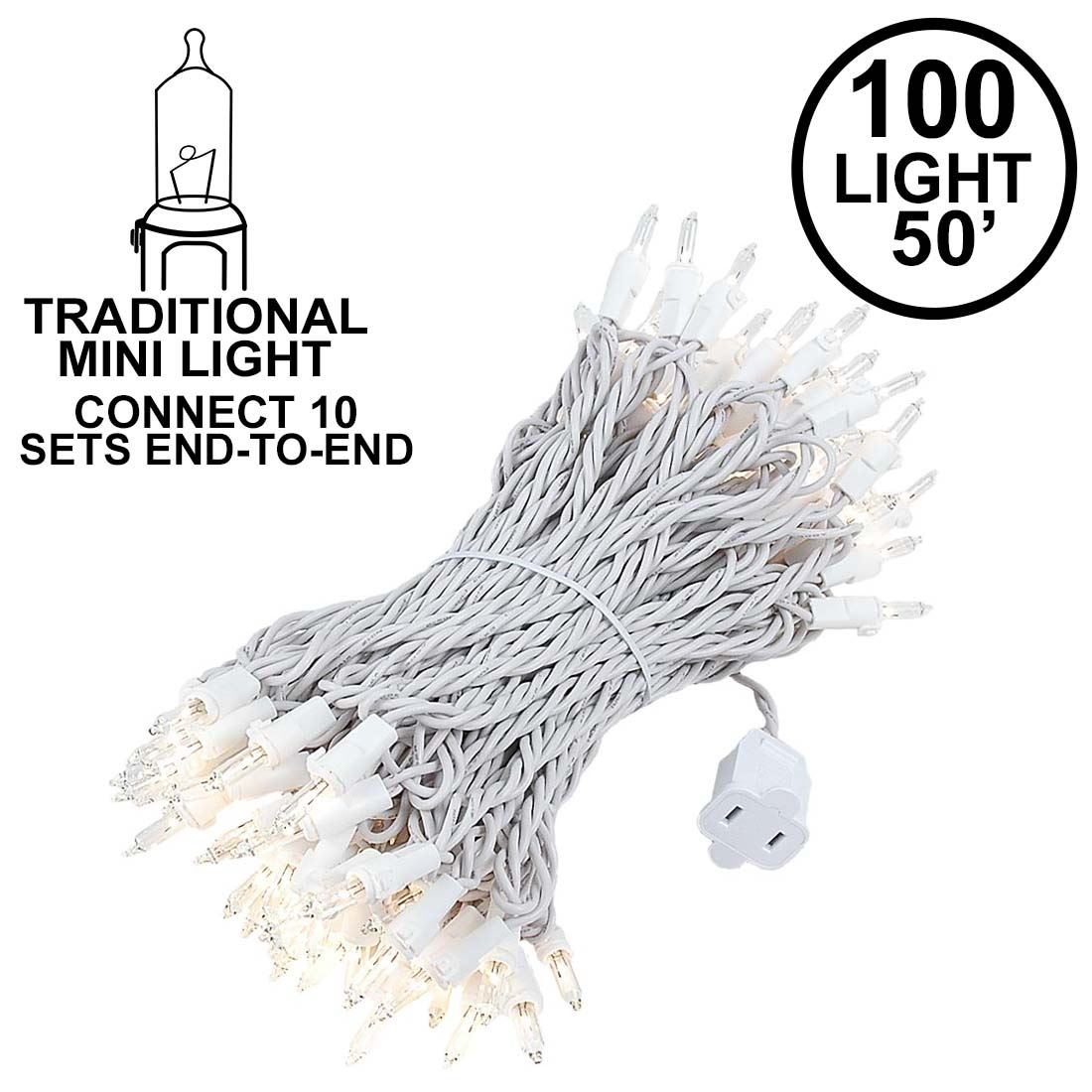 Picture of 100 Light 50' Long White Wire Christmas Mini Lights Connect 10