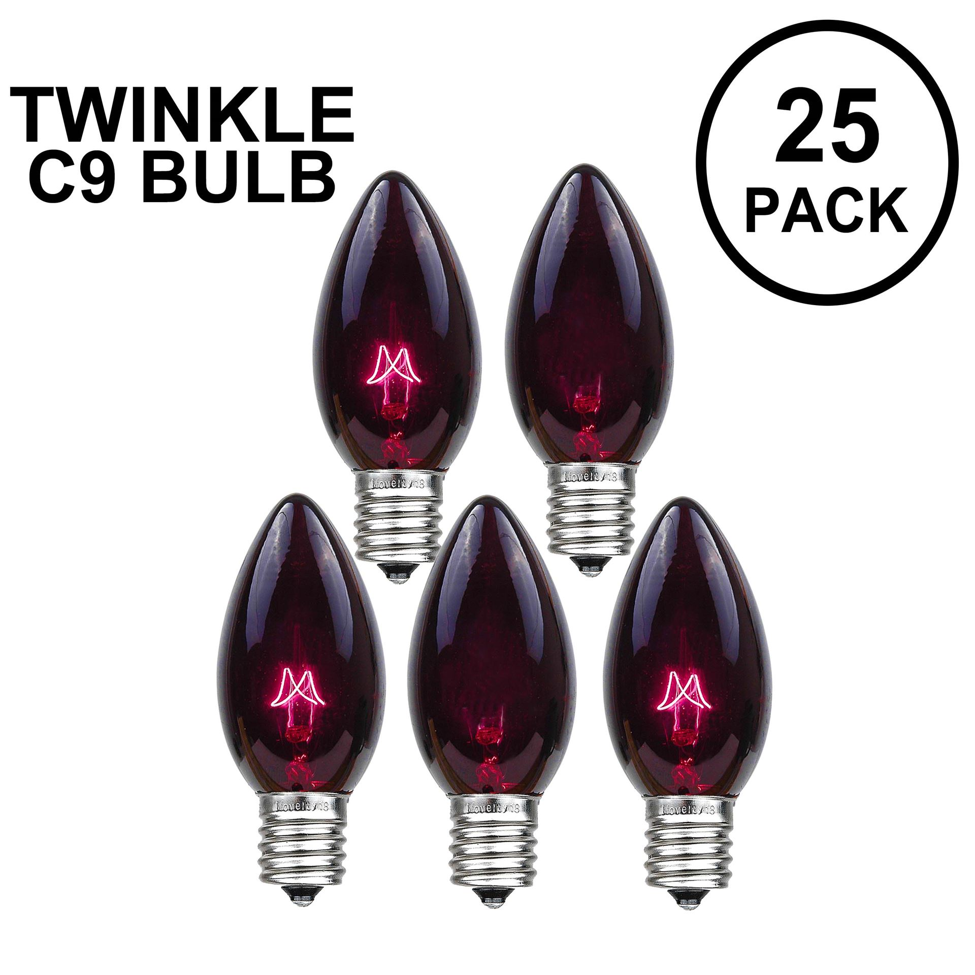 Picture of Black Light Twinkle C9 Bulbs 7 Watt Replacement Lamps 25 Pack