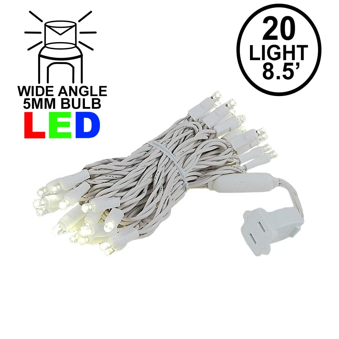 Picture of 20 Light Warm White LED Mini Lights White Wire