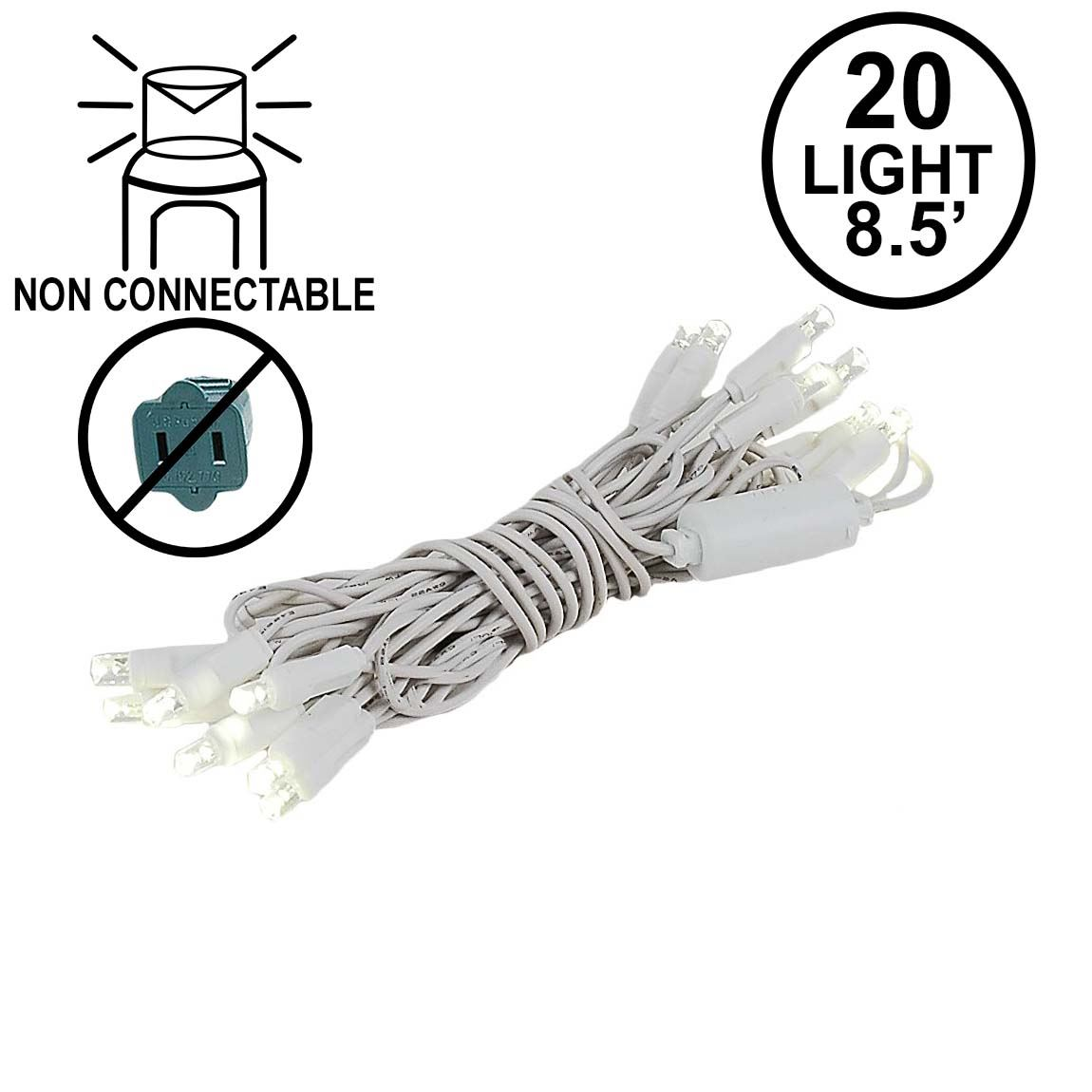 Picture of 20 Light Non Connectable Warm White LED Mini Lights White Wire