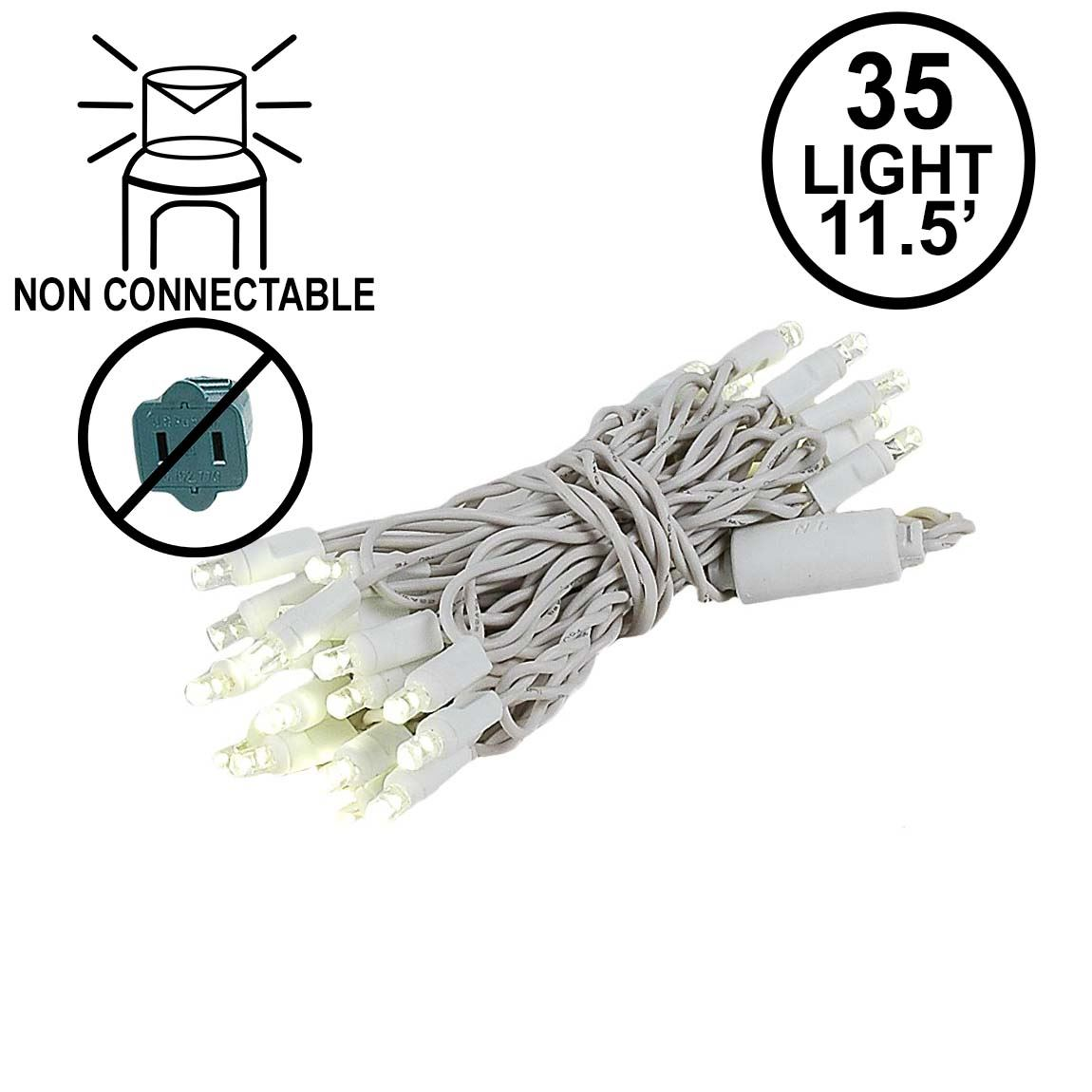 35 Light Warm White LED Christmas Light Set Non-Connectable White ...