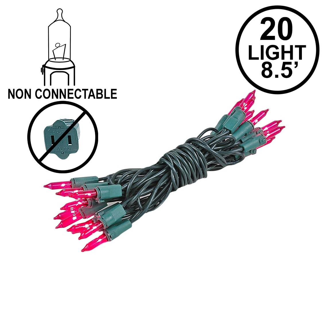 Picture of Non Connectable Pink Green Wire Mini Lights 20 Light 8.5'