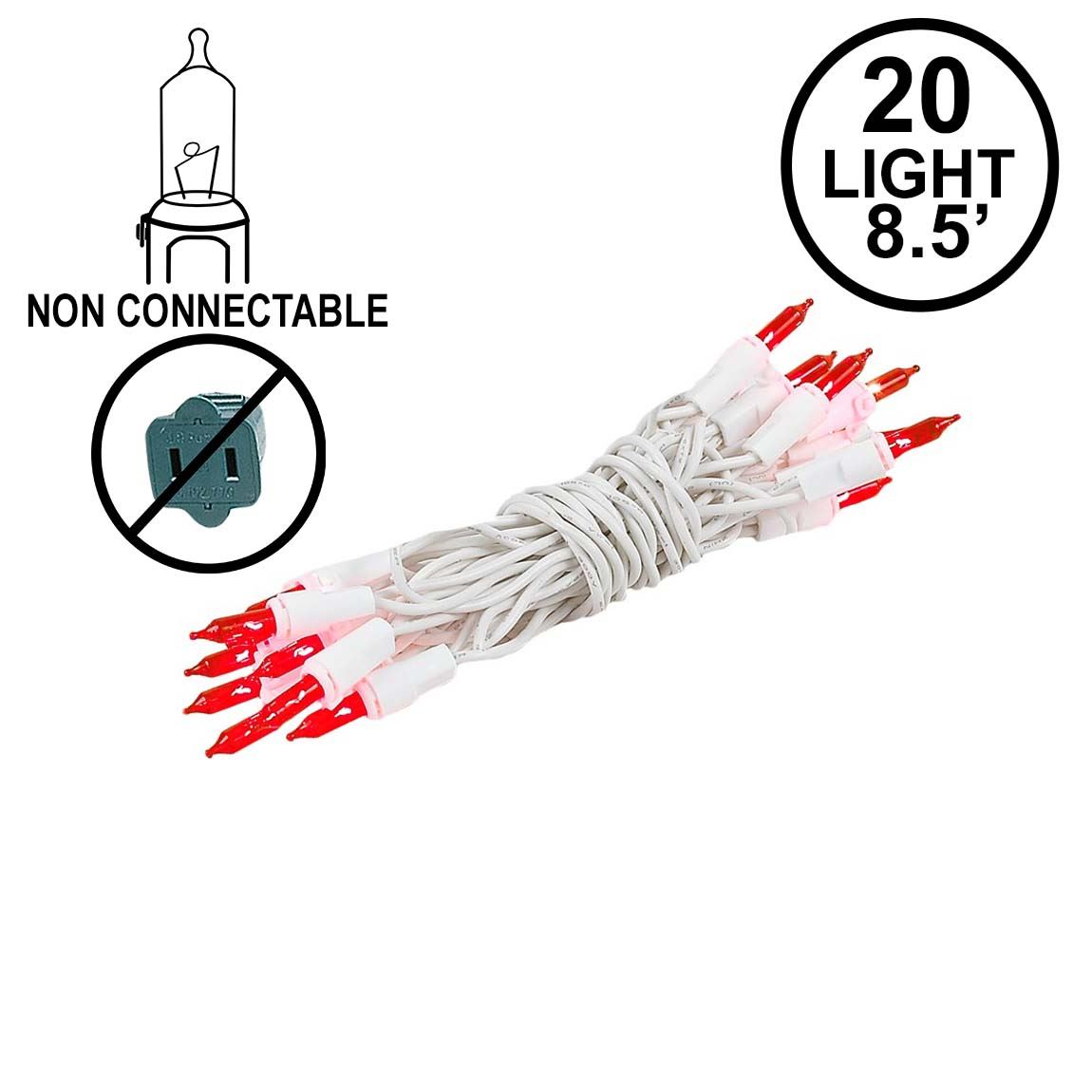 Picture of Non Connectable Red White Wire Mini Lights 20 Light 8.5'