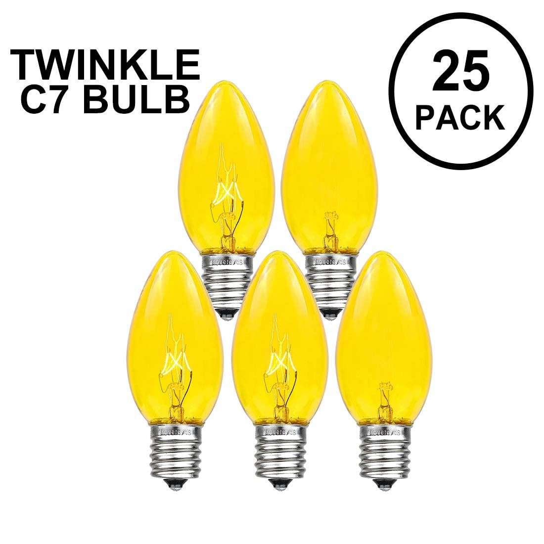 Picture of Yellow Twinkle C7 7 Watt Bulbs 25 Pack