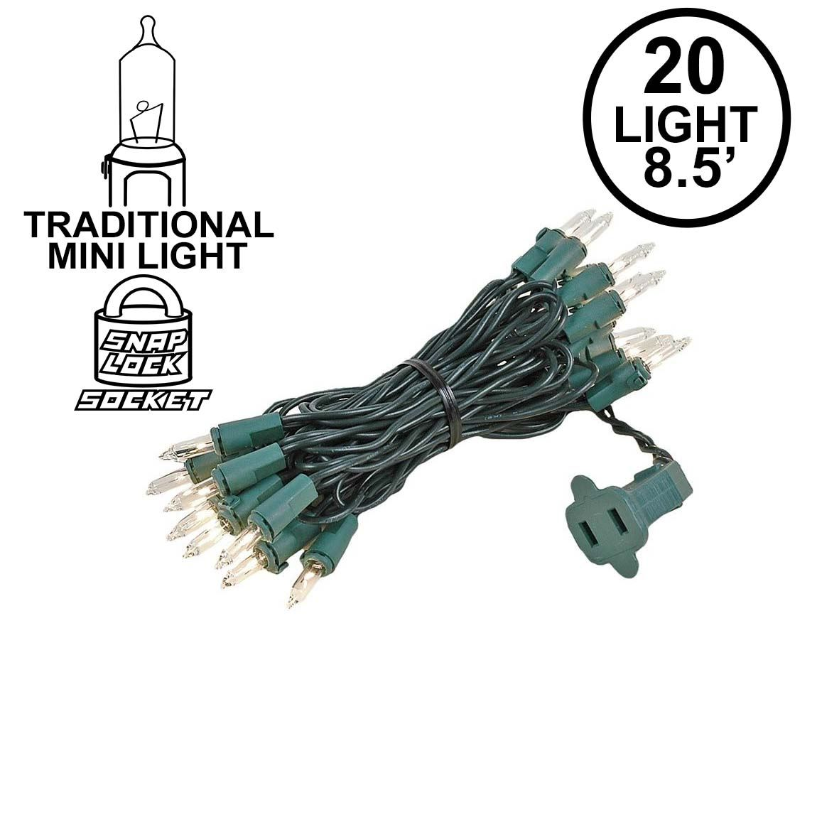 Picture of Clear 20 Light 9' Long Green Wire Christmas Mini Lights