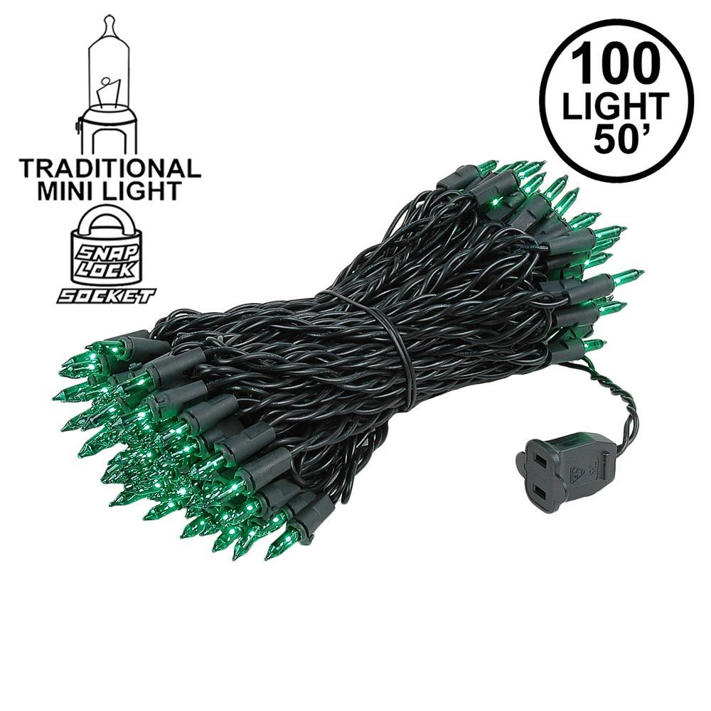 Picture of Green Christmas Mini Lights 100 Light 50 Feet Long on Black Wire