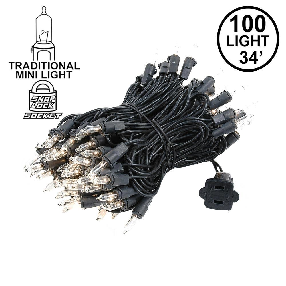Picture of Black Wire Clear Christmas Mini Lights 100 Light 34 Feet Long