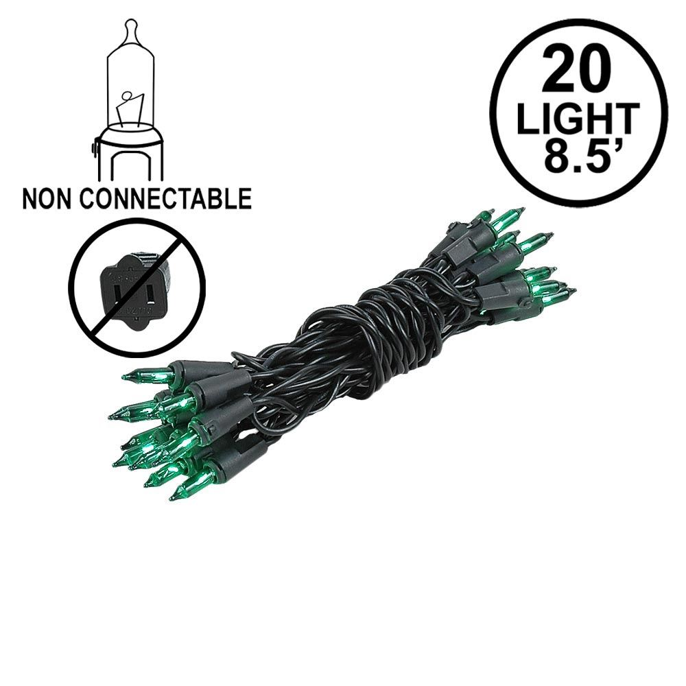 Picture of Non Connectable Green Black Wire Mini Lights 20 Light 8.5'