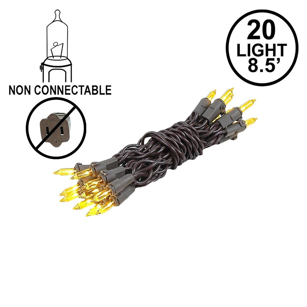 Picture of Non Connectable Yellow Brown Wire Mini Lights 20 Light 8.5'
