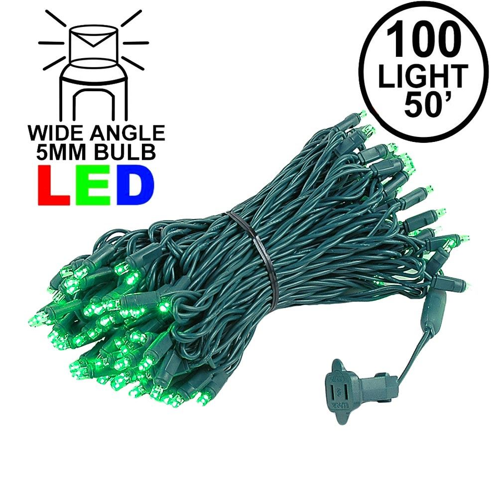 Picture of Commercial Grade Wide Angle 100 LED Green 50' Long on Green Wire