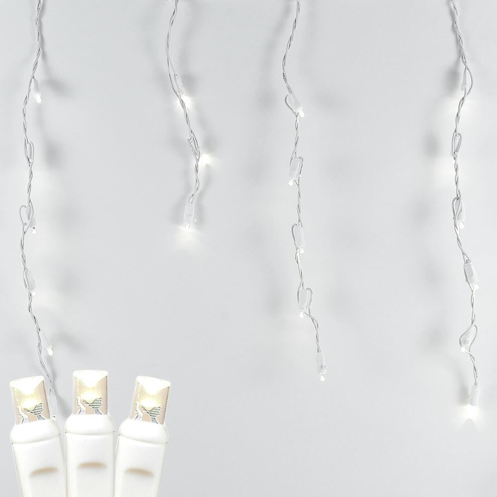 Picture of Warm White LED Icicle Lights on White Wire 70 Bulbs
