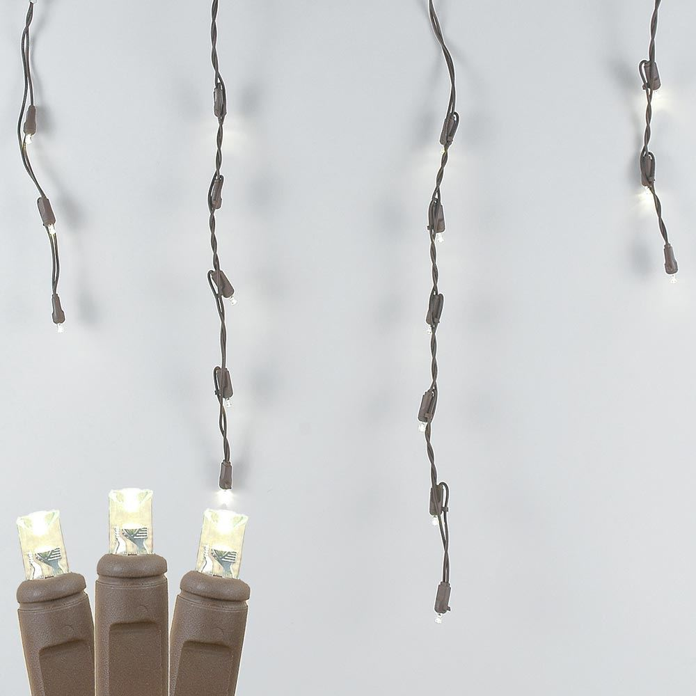 Picture of Warm White LED Icicle Lights on Brown Wire 70 Bulbs
