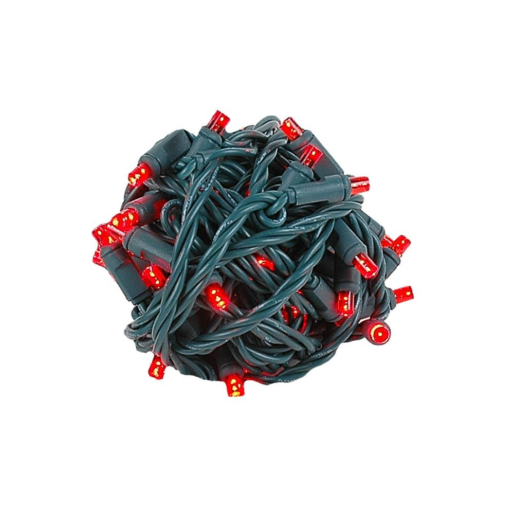 "Picture of Coaxial 50 LED Red 4"" Spacing Green Wire"