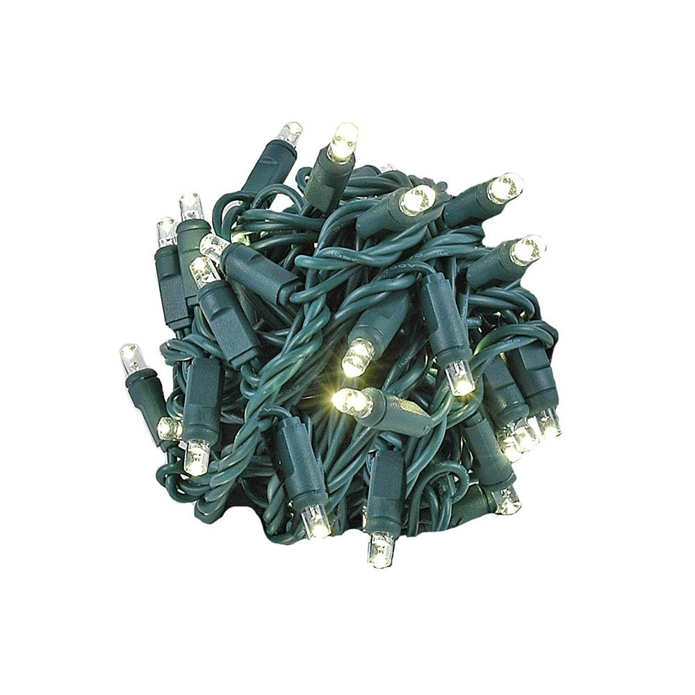 "Picture of Coaxial 50 LED Warm White 6"" Spacing Green Wire"