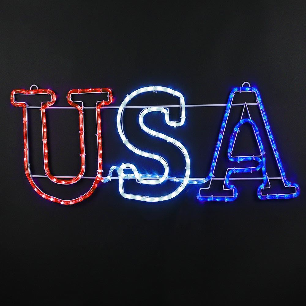 "Picture of 36"" Patriotic ""USA"" LED Rope Light Sign"