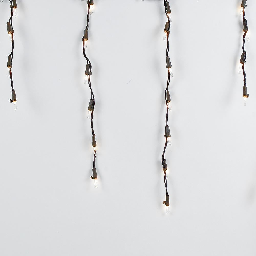 Picture of Clear 100 Light Icicle Lights Brown Wire Medium Drops