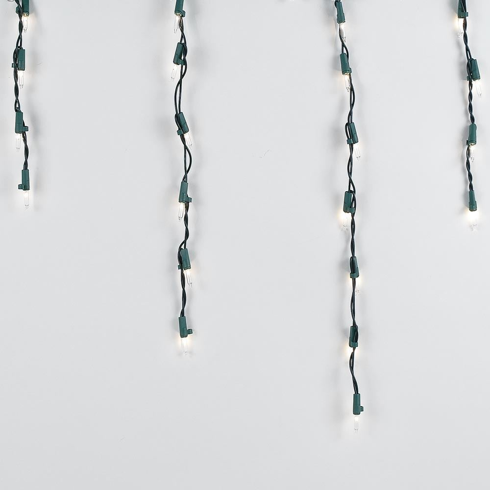 Picture of Clear 100 Light Icicle Lights Green Wire Long Drops