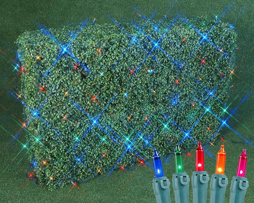Picture of 4' X 6' Super Bright Multi Net Lights - Green Wire